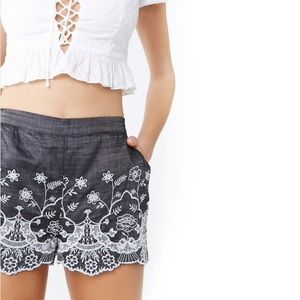NWT Chambray Eyelet Embroidered Shorts Forever21